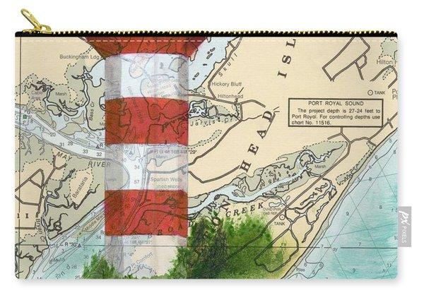 Hilton Head Island Lighthouse Sc Nautical Chart Map Art Cathy Peek Carry-all Pouch