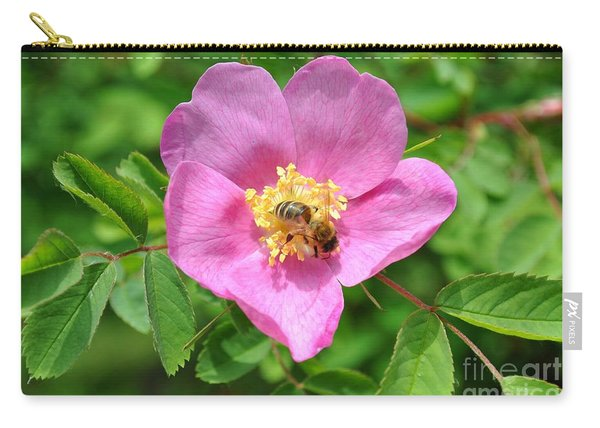 Hip Rose Bloom With A Bee Carry-all Pouch