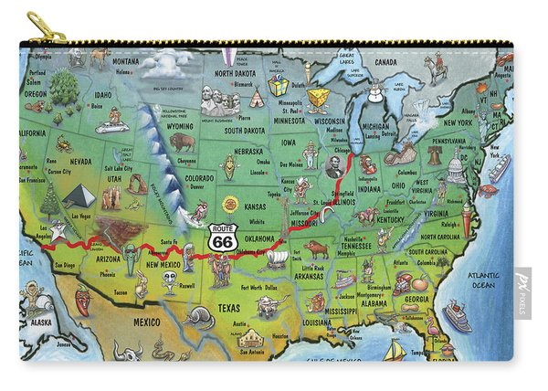 Historic Route 66 Cartoon Map Carry-all Pouch