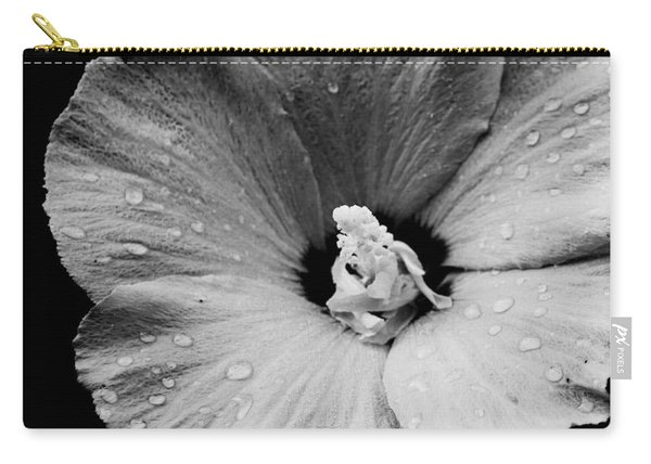 Hollyhock In Black And White Carry-all Pouch