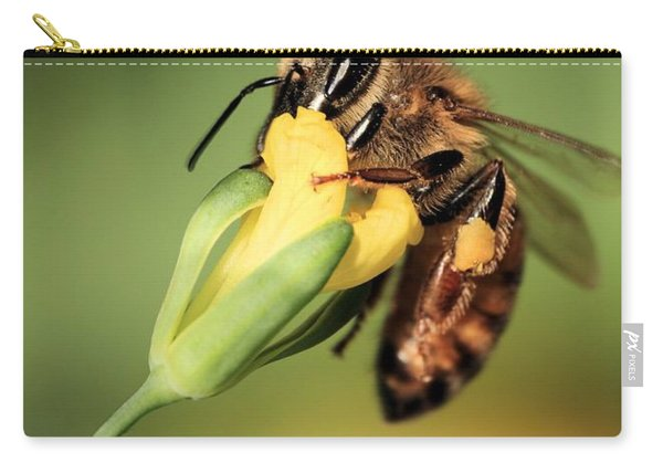 Spring Honey Bee Pollination On Broccoli Flower Carry-all Pouch