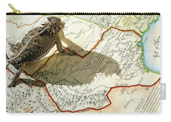 Horned Toad Walking Across Texas Map Carry-all Pouch