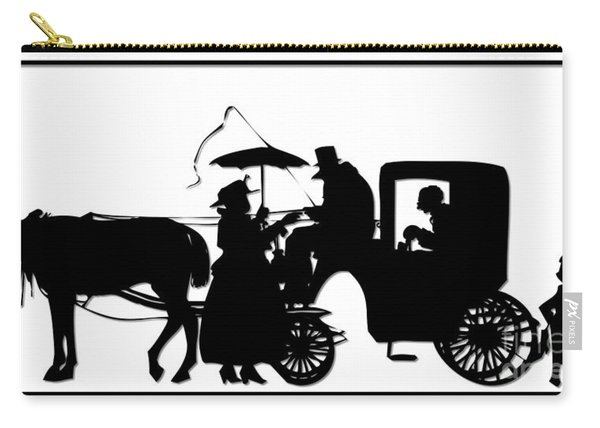Horse And Carriage Silhouette Carry-all Pouch