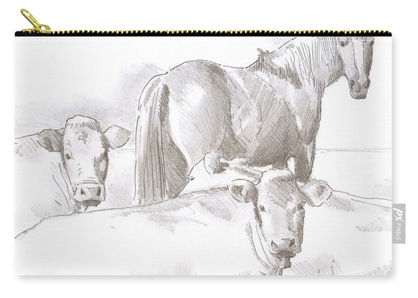 Horse And Cows Sketch Carry-all Pouch