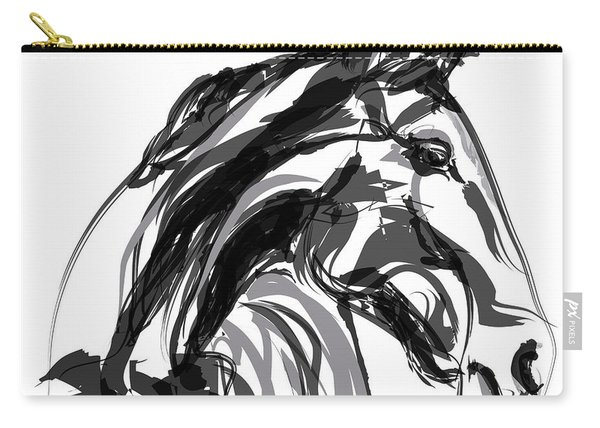 Horse- Apple -digi - Black And White Carry-all Pouch