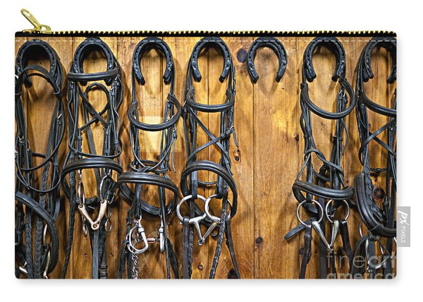 Horse Bridles Hanging In Stable Carry-all Pouch
