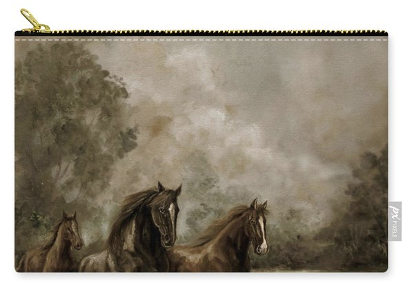 Horse Painting Escaping The Storm Carry-all Pouch