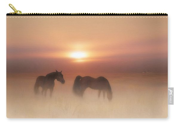 Horses In A Misty Dawn Carry-all Pouch