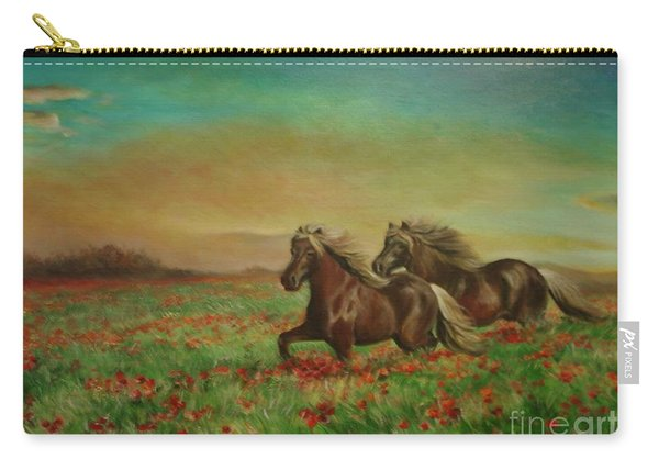 Horses In The Field With Poppies Carry-all Pouch