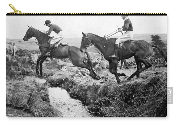 Horses Jumping A Creek Carry-all Pouch