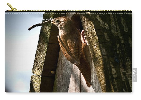 House Wren At Nest Box Carry-all Pouch