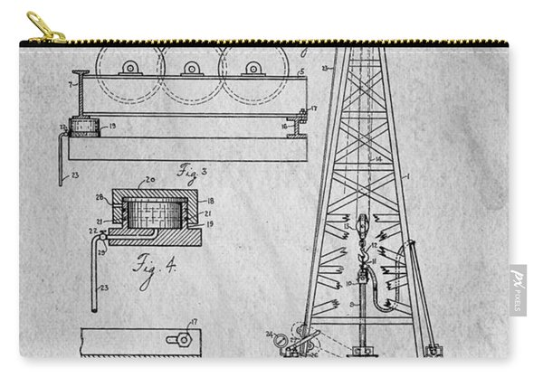 Howard Huges Drilling Rig Original Patent Carry-all Pouch