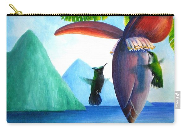 Hummingbirds And Bananas Carry-all Pouch