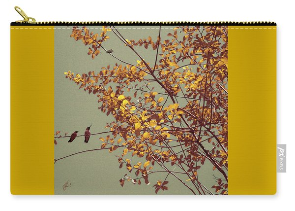 Hummingbirds On Yellow Tree Carry-all Pouch