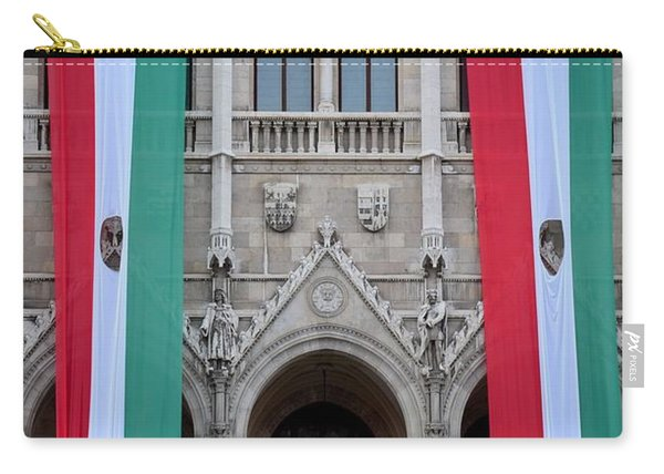 Hungary Flag Hanging At Parliament Budapest Carry-all Pouch