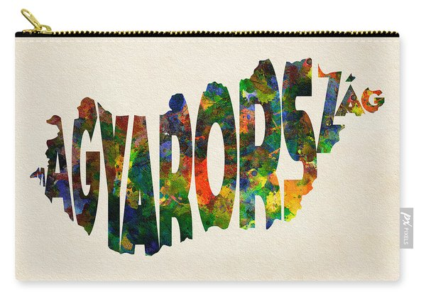 Hungary Typographic Watercolor Map Carry-all Pouch