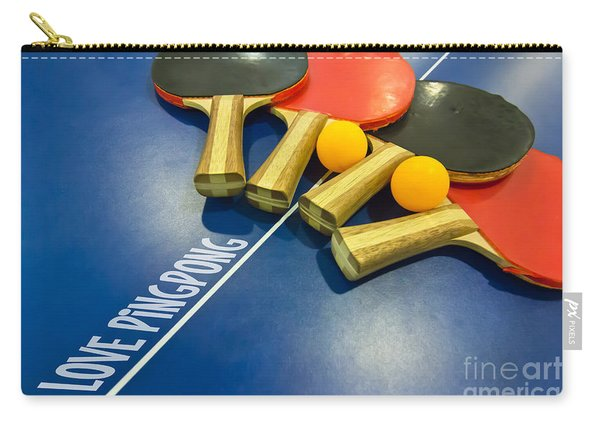 I Love Ping-pong Bats Table Tennis Paddles Rackets On Blue Carry-all Pouch