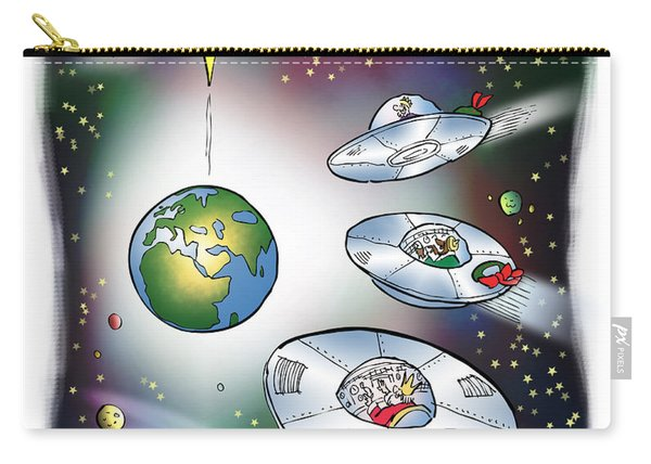 Carry-all Pouch featuring the digital art We Three Spacemen by Mark Armstrong