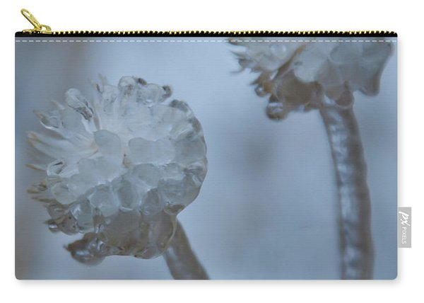 Ice-covered Winter Flowers With Blue Background Carry-all Pouch