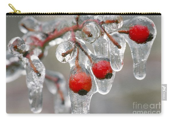 Ice On Rose Hips Carry-all Pouch