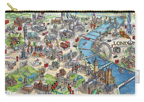 Illustrated Map Of London Carry-all Pouch