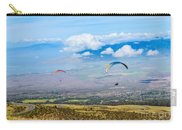 In Flight - Paragliders Taking Off High Over Maui. Carry-all Pouch