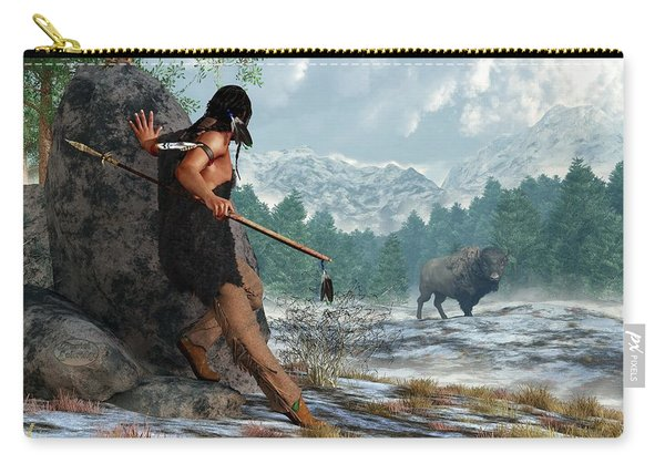 Indian Hunting With Atlatl Carry-all Pouch