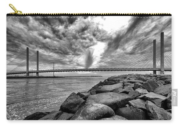 Indian River Bridge Clouds Black And White Carry-all Pouch