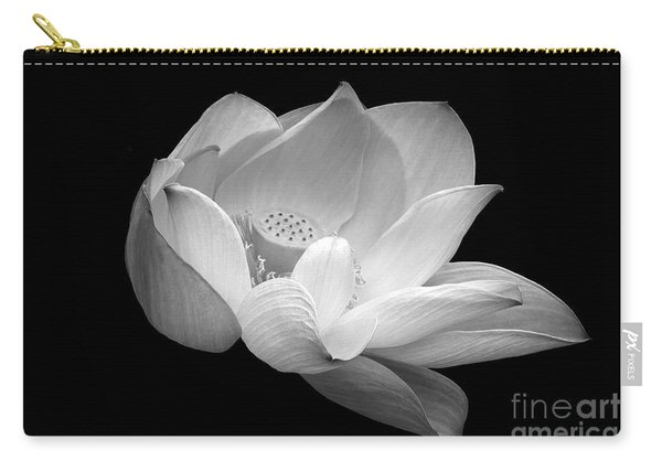 Indian Sacred Lotus In Black And White Carry-all Pouch