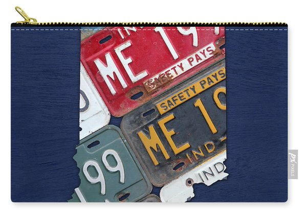 Indiana State License Plate Map Carry-all Pouch