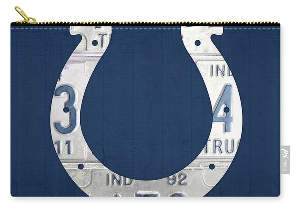 Indianapolis Colts Football Team Retro Logo Indiana License Plate Art Carry-all Pouch