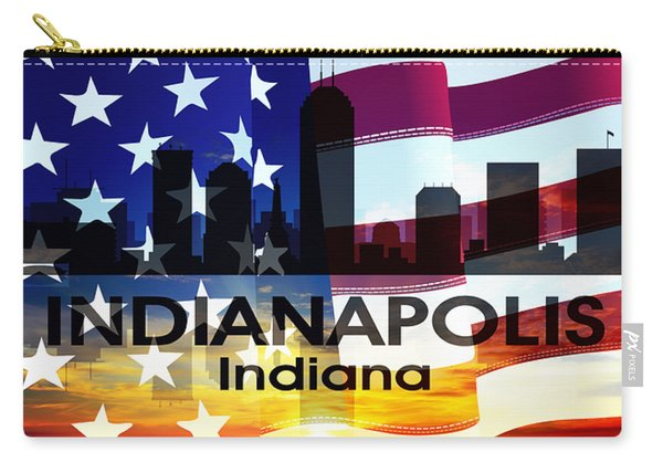 Indianapolis In Patriotic Large Cityscape Carry-all Pouch