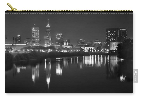 Indianapolis Skyline At Night Indy Downtown Black And White Bw Panorama Carry-all Pouch