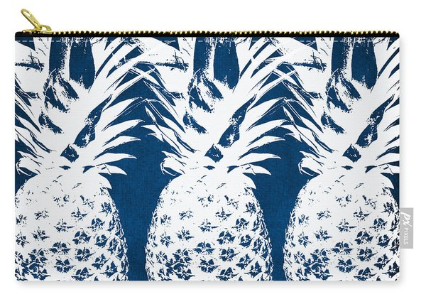Indigo And White Pineapples Carry-all Pouch