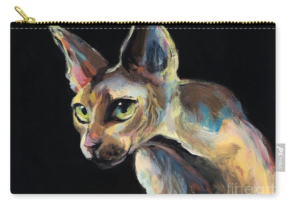 Intense Sphinx Sphynx Cat Art Painting Carry-all Pouch