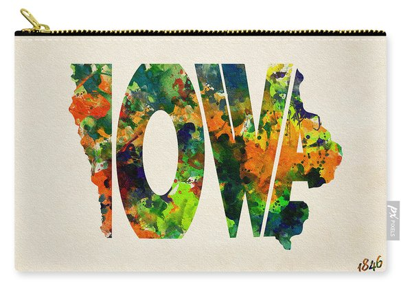 Iowa Typographic Watercolor Map Carry-all Pouch