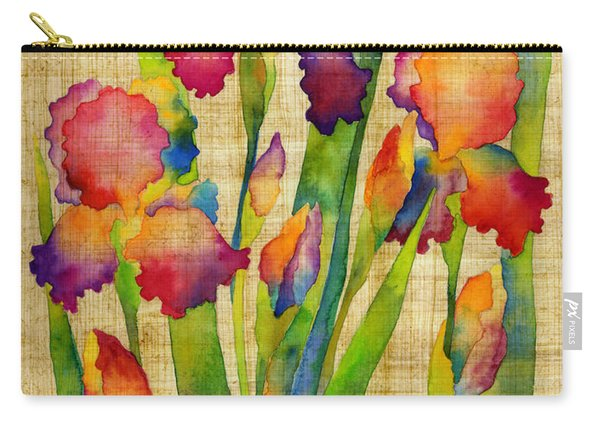 Iris Elegance On Yellow Carry-all Pouch