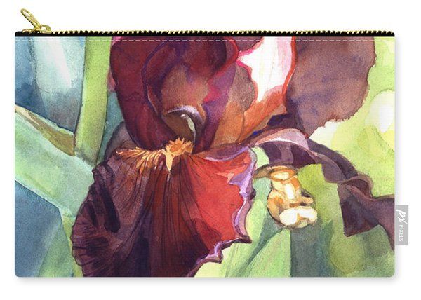 Watercolor Of A Tall Bearded Iris Called Sultan's Palace In Red And Burgundy Carry-all Pouch