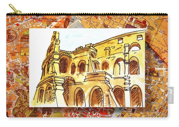 Italy Sketches Rome Colosseum Ruins Carry-all Pouch