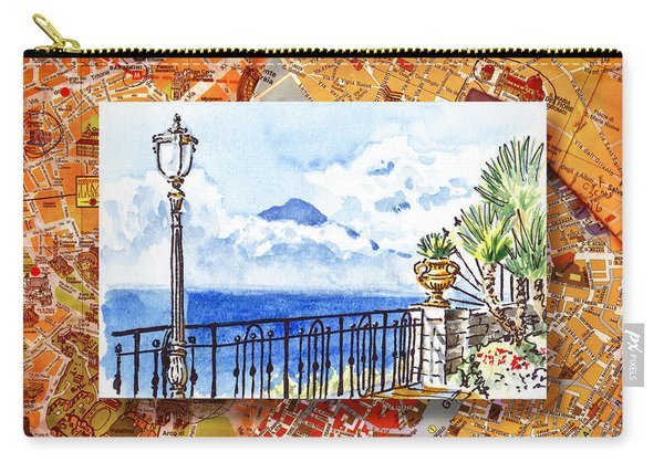 Italy Sketches Sorrento View On Volcano Vesuvius  Carry-all Pouch