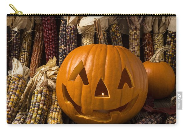 Jack-o-lantern And Indian Corn  Carry-all Pouch
