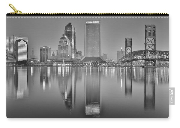 Jacksonville Florida Black And White Panoramic View Carry-all Pouch
