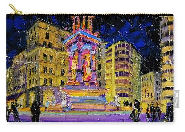 Jacobins Fountain During The Festival Of Lights In Lyon France  Carry-all Pouch