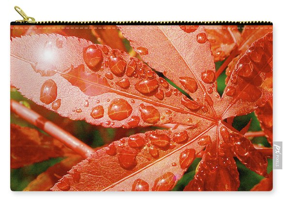 Japanese Maple Leaf With Rain Drops And Sunburst Carry-all Pouch