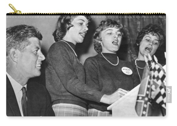 Jfk Listens To Campaign Song Carry-all Pouch
