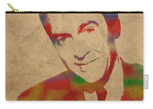 Jimmy Stewart Watercolor Portrait On Worn Distressed Canvas Carry-all Pouch