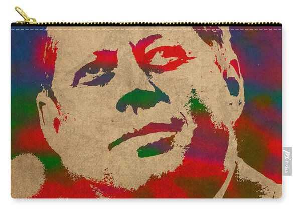 John F Kennedy Jfk Watercolor Portrait On Worn Distressed Canvas Carry-all Pouch