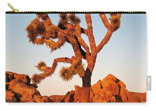 Carry-all Pouch featuring the photograph Joshua Tree At Sunset by Mae Wertz