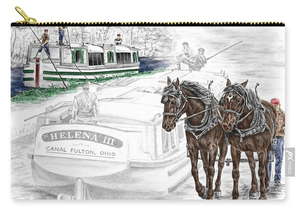 Journeys On The Canal - Canal Boat Print Color Tinted Carry-all Pouch