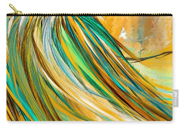 Joyous Soul- Yellow And Turquoise Artwork Carry-all Pouch